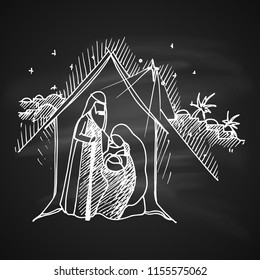 Raster version. Chalk Drawing Illustration for Merry Christmas and Happy New Year Print Design. Christmas Nativity Religious Abstract Artistic Bethlehem Crib Scene on Black Chalkboard