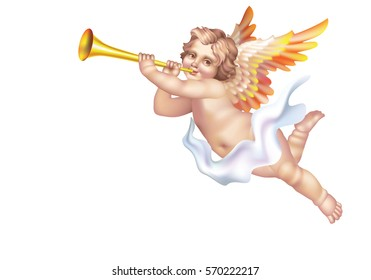 Raster version / Cherub Blowing into a tube on a white background on the right