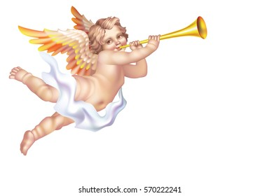 Raster version / Cherub Blowing into a tube on a white background the left