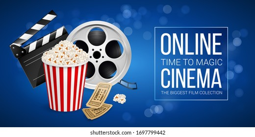 Raster version. Cinematograph Concept Banner Design Template with Movie Clapper Board, Cinema Ticket, Popcorn in the Striped Bag and Film Reel Over Blue Background with Light Effects
