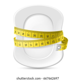 Raster version. Clean Plate with Measuring Tape as Diet Concept. Illustration on White