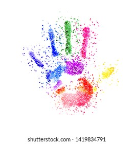 Raster version. Colorful Handprint of Dots. Rainbow Colors Dots Shape of a Hand and Fingers on White Background