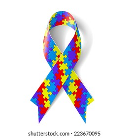 Raster version. Colorful puzzle ribbon as symbol autism awareness