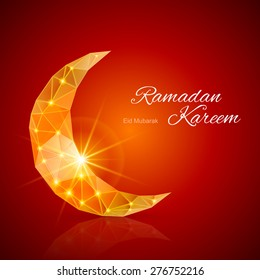 Raster version. Crescent Moon with bright flare ain dark red and yellow  shades. Greeting card of holy Muslim month Ramadan