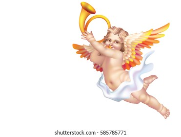 Raster version / Cupid Blowing a post horn on a white background