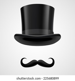 Raster version. Curly retro moustaches and stovepipe top hat elements. funny victorian gentleman on grey bacground
