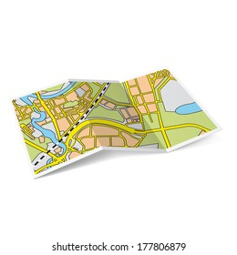 Raster version. Design of city map booklet on white background
