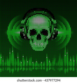 Raster version. Disco background with skull in headphones, equalizer in green shades. LED style display