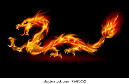 Raster version. Dragon. Abstract fiery Illustration on black background for design