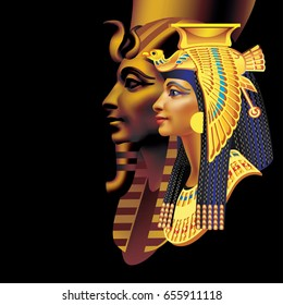 Raster version / Egyptian pharaoh and queen on a black background (right)