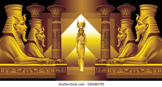 Raster version / The Egyptian queen and four sphinx on a black background