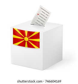 Raster version. Election in Macedonia: ballot box with voicing paper isolated on white background