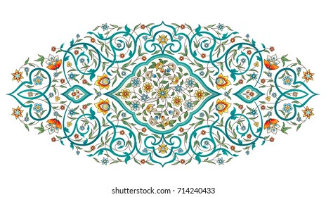 Raster version. Element, arabesque for design template. Luxury ornament in Eastern style. Turquoise floral illustration. Ornate decor for invitation, greeting card, wallpaper, background, web page.