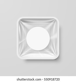 Raster version. Empty White Plastic Food Square Container with Round Label
