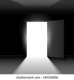 Raster version. Exit door with light. Illustration on dark empty background