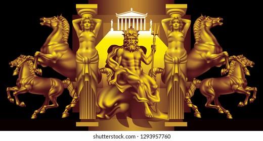 Raster version / Fantasy with the ancient greek god of the seas Poseidon