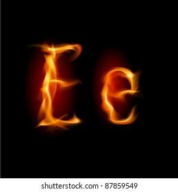 Raster version. Fiery font. Letter E. Illustration on black background