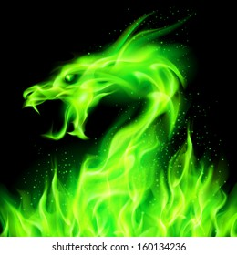 Raster version. Fire head of dragon in green on black background.