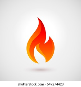 Raster version. Fire Icon in Flat Style with Shadow. Illustration for Design