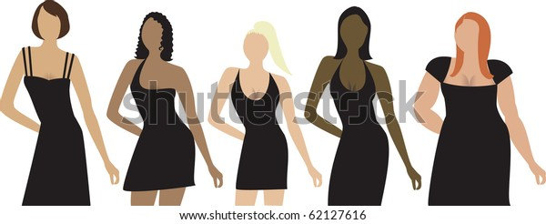 Raster version. Five women of different shapes, sizes and ethnicity with black dress. Can be used for a party invitation, diversity or sizing.