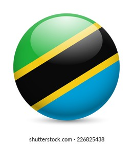 Raster version. Flag of Tanzania as round glossy icon. Button with Tanzanian flag
