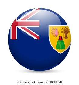 Raster version. Flag of Turks and Caicos Islands as round glossy icon. Button with flag design