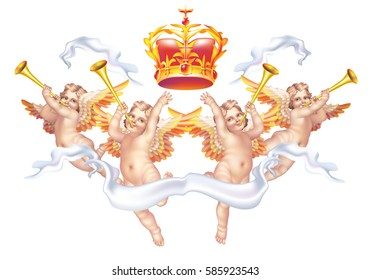 Raster version / Four cherub with a crown on a white background