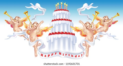 Raster version / Four trumpeting cherubs with a birthday cake