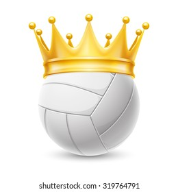 Raster version. Gold crown on a volleyball ball isolated on white