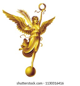 Raster version / Golden flying goddess Nika with the attributes of peace and victory on a white background