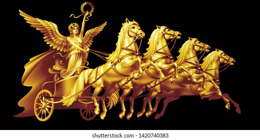 Raster version / Golden goddess of victory Nike on a chariot on a black background