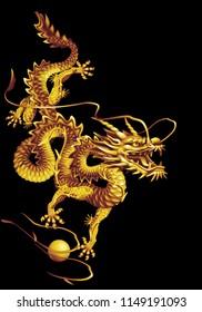 Raster version / Golden oriental dragon on a black background