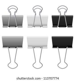 Raster version. Gray binder clips. Illustration on white background