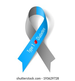 Raster version. Gray and blue ribbon with blood drop as symbol of diabetes Type 1