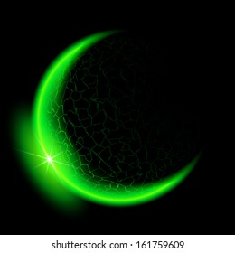 Raster version. Green crescent with flare on black background.