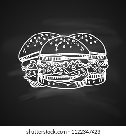 Raster version. Hand Drawn Chalk Sketch on Blackboard of Burgers. Tasty Burgers with Tomato Sauce, Cheese and Meat. Illustration on Black