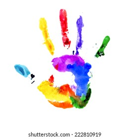 Raster version. Handprint in colors of the rainbow isolated on white