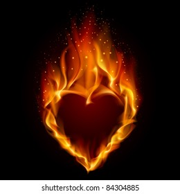 Raster version. Heart in Fire. Illustration on black background for design