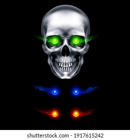 Raster version. Human Metallic Skull with Green Flaming Eyes. The Concept of Death, Horror. A Symbol of Spooky Halloween. Isolated Object on a Black Background, Can be Used with any Image