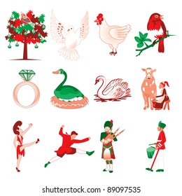 Raster version Illustration Card of the 12 days of Christmas icons.