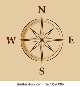 Raster version. Illustration of Cartoon Compass. Geo Mark Wind Rose. Rose Wind in Lineal Style on Brown Background. Image of Compass for Columbus Day. Marine Wind Rose for Travel, Navigation Design