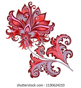 Raster version illustration decorative abstract red flower with oriental style, beautiful vintage branch of flowers with ornaments