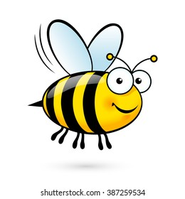 Raster version. Illustration of a Friendly Cute Bee Flying and Smiling
