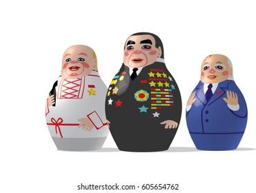 Raster version illustration / Khrushchev, Brezhnev, Gorbachev - Leaders of the USSR - matryoshki
