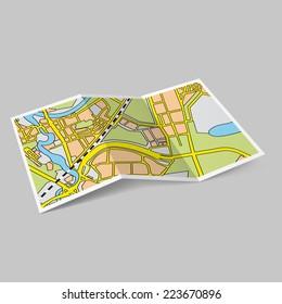 Raster version. Illustration of map booklet on grey background