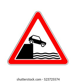 Raster version. Illustration of Triangle Warning Traffic Signs. Unprotected Quayside or Riverbank