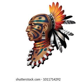 Raster version / Indian warrior on white background