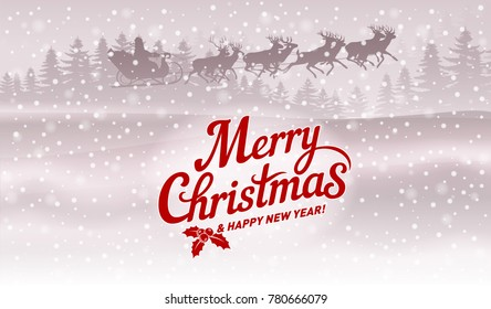 Raster version. The Inscription Merry Christmas, Falling Snow and Santa with Reindeers on White Backgroun