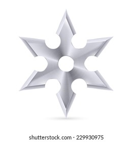 Raster version. Metal shuriken with six tips on the white background