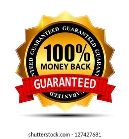 Raster version money back guarantee gold sign, label